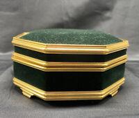 Vintage Mele jewelry box green velvet & gold trim octagon