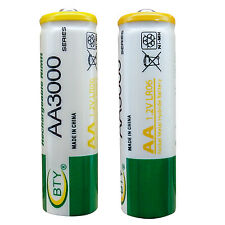 2 pcs AA LR06 3000mAh 1.2V Rechargeable NI-MH battery CELL RC Toy BTY Green