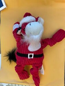 Hugglehounds Red Santa Claus Holiday Moose Cow 9 inch durable dog toy squeaker