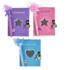 3 NEW PINK, BLUE AND PURPLE FUZZY DIARY / SECRETS BOOK WITH MIRROR, LOCK AND PEN