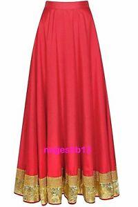 Indian Long Skirt, Bollywood Skirt, Red Dupion Silk Lehanga, Dance Skirt