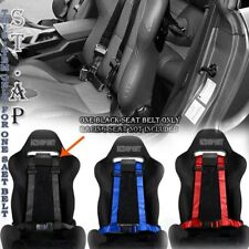 "UNIVERSAL FIT ALL-CAR 4 POINT RACING SAFETY HARNESS 2"" INCH STRAP SEAT BELT BLAC"