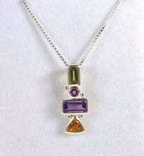 1.75ct Natural Peridot, Citrine, Amethyst & Garnet 925 Sterling Silver Necklace