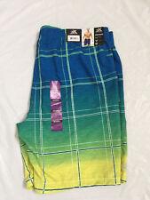 Men's ZEROXPOSUR Blu Coral / Swim Suit / Swim Shorts Size XXL Color Blue & Green