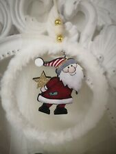 Door Wreath Hanger Santa Claus 5 1/2in Shabby Vintage Landhaus
