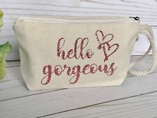Rose gold makeup bag, hello gorgeous makeup bag, wedding makeup