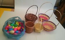 001B Lot of Wicker Woven Baskets & Plastic Easter Eggs