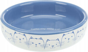 Blue & White Ceramic Cat Bowl For Short-Nosed Breeds Food Water Cats Bowl Dish