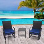 Blue Garden Rattan Furniture Set Outdoor Table Chairs Ottoman Footstool 5 Pcs