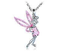 Silver Tone Pink Tinkerbell Rhinestones Pixie Fairy Pendant Necklace