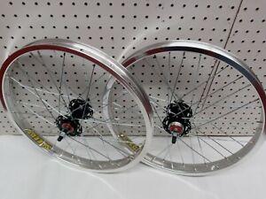 "20"" Old School Style Bmx Wheel Set Silver/Black (SpeedCo GT  Dyno Haro CW Hutch)"