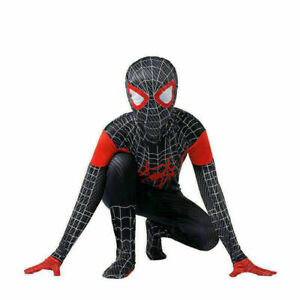 Kids Boys Marvel Spider SuperHero Miles Morales Cosplay Spider man Costume UK