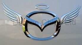 Mazda Bongo MX5 3D Dome Angel Wings Halo Car Sticker Decal Badge Silver Chrome
