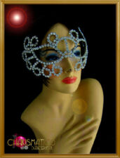 Charismatico Lady Gaga Open Work Swirled Iridescent Crystal Rhinestone Eye Mask