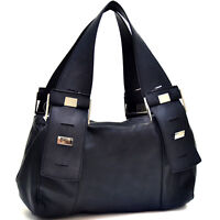 New Dasein Women Leather Handbag Hobo Bag Silver Button Purse Shoulder Bag Black