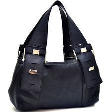 New Dasein Women Leather Handbag Hobo Bag Silver Button Purse Shoulder Bag Black