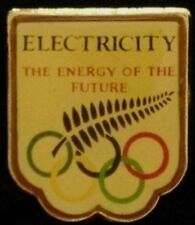 New Zealand Olympic Pin Badge~ vintage: undated~Electricity~Power of the Future