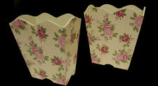 Set of 2 Antique Styled Wooden Floral Rose Pastel Waste Bins