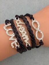 Bracelet  noir dream, love et lien infini en strass. Top tendance