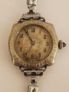 Antique Working WINTON 16J Swiss Art Deco White Gold G.F. Wind-Up Ladies Watch