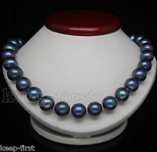 Genuine 9-10mm Natural Black Freshwater Cultured Pearl Necklace 18'' AAA