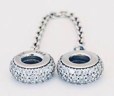 Brand New Pandora S/Silver INSPIRATION Pavé Safety chain Charm bead - 791736CZ