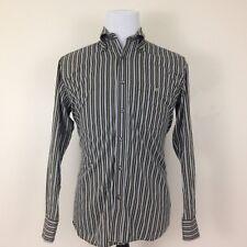 Lacoste Brown Blue Striped Button-Front Shirt Men's 40 M Medium Long Sleeve
