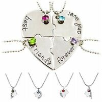 Best Friend Forever Necklace Crystal BFF Friendship Chain 4 Pendant trinke