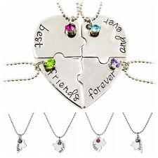 Heart Best Friend Forever Necklace Crystal BFF Friendship Chain 4 Pendant Puzzle