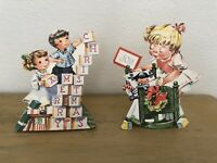 Vintage Diecut Stand Up Christmas Cards Lot Of 2 Children Tree Gifts