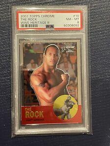 2007 Topps Chrome WWE Heritage Dwayne Johnson THE ROCK #10 PSA 8 WWF