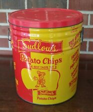 Vintage Sudlow's Potato Chip Can Advertising Tin Muncie Indiana