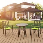 3 Pcs Set Outdoor Steel Patio Garden Furniture Bistro Dining Table Chair Lounge