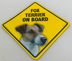 Fox Terrier Dog On Board Magnet Laminated Car Pet Magnet NEW 6x6