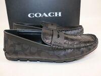 NIB $228 COACH Size 10.5 Men's Black Croc Embossed Leather MOTT DRIVER Loafer