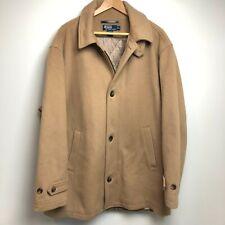 Polo Ralph Lauren Pea Coat Men's XL Tan Wool Long Buttons Quilted Liner