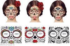 3 Day of the Dead Dia De Los Muertos Temp Face TATTOO Sugar Skull! 3 Designs!!!!