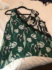 BCBG Max Azria Black Green Floral Embroidered Sleeveless Tank Top Women's M