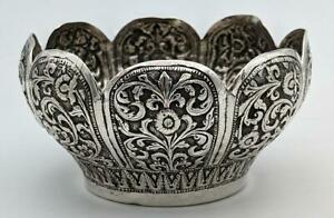 INDIAN KUTCH ANTIQUE SILVER ENGRAVED BOWL 19TH CENTURY Islamic Art