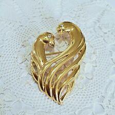 Vtg Monet Brooch Pin Gold Tone Love Bird Heart Shape Rhinestone