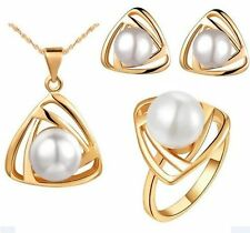 GirlZ! Fashion Elegant Triangle Pearl Pendant, Earrings and Ring Set - Gold
