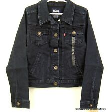 Levis Denim Jean Jacket Girls Small 8-10 yrs Trucker Style Dark Blue Stretch NWT