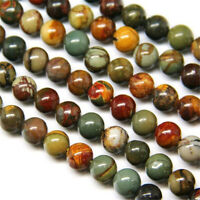"Wholesale Natural Red Picasso Jasper 4 6 8 10 12mm Ball Loose Bead 15.5"" DW81"
