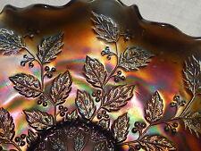 VTG FENTON  CARNIVAL GLASS SATIN FINISH  HOLLY PATTERN BOWL
