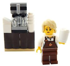 NEW LEGO BARISTA MINIFIG coffee store clerk shop store figure minifigure female