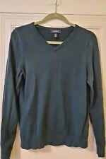 Lands End Girls Large 14 - 16 Dark Green Cotton Sweater V-Neck Pullover Uniform