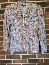 CHAPS Size Large Cotton Tee Knit Long Sleeve Pink Blue Paisley Ruffle Top