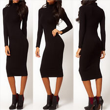 New Sexy Women Hip Stretch Long Sleeve Turtle Neck Midi Pencil Full-Length Dress