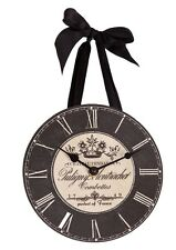 "Wall Clock - ""Chateau Vendage"" -Vintage Design -w/Satin Ribbon for hanging!"