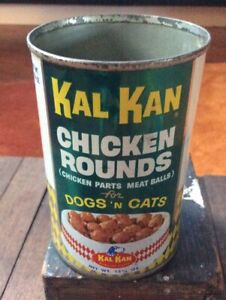Vintage Original KAL KAN DOG & CAT Pet Food Tin Can Chicken Rounds RARE
